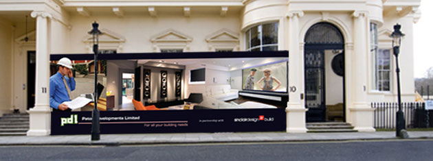 A large construction hoarding for a prestigious refurbishment project